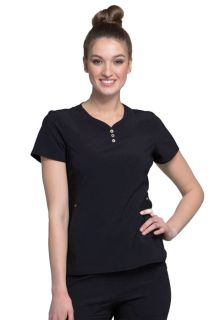 V-Neck Button Placket Top-Cherokee Medical