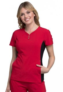 V-Neck Button Placket Top-