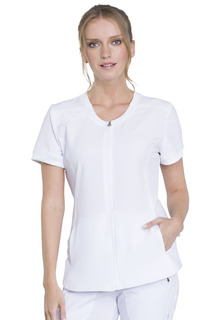 Zip Front V-Neck Top-