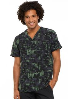 Cherokee Fashion Mens V-Neck Scrub Top-CU_CHM