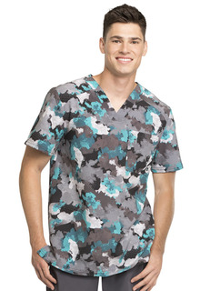 Men's Printed V-Neck Top-Cherokee Medical