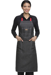 Bib Apron with Red Straps-Dickies Chef