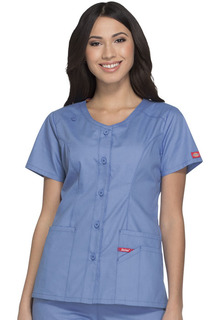 Dickies Signature Ladies Button Front V-Neck Top - DK605-Dickies