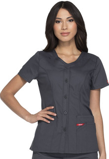Button Front V-Neck Top-Dickies Medical