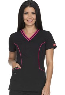 Contrast Piping V-Neck Top-Dickies