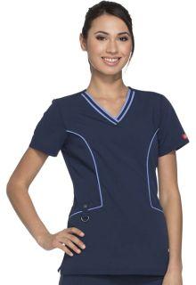 Xtreme Ladies Contrast V-Neck Top - Dickies DK715-Dickies Medical