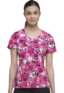 Prints - Dickies Ladies Double-Pocket V-Neck Top - DK721-Dickies