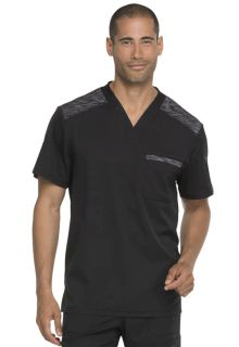 Mens Melange Contrast V-Neck Top-