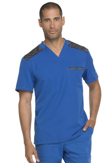 Mens Melange Contrast V-Neck Top-Dickies Medical