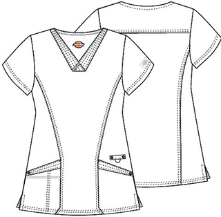 V-Neck Top With Patch Pockets-Dickies
