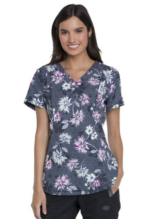 DEAL - Dynamix Print V-Neck Top by Dickies-