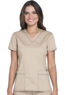 Gen Flex Ladies 2 Pocket V-Neck Scrub Top - Dickies DK800-Dickies