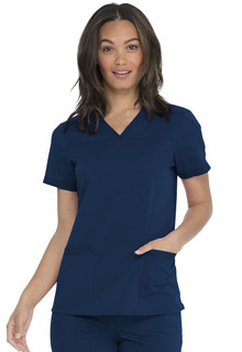V-Neck Top With Rib Knit Panels-Dickies Medical