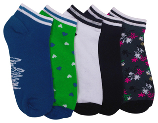 1-5pr Pk No Show Socks-Heartsoul