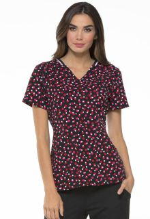 Elle Medical Elle Prints A La Mode  EL615 V-Neck Top-Elle