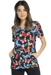 ELLE Shaped V-Neck Print Top-Elle