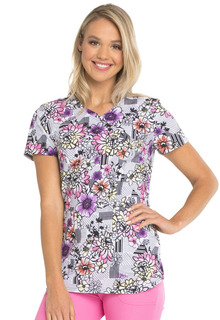 DEAL - HeartSoul Print Mock Wrap Top - Patterns And Posies-Heartsoul