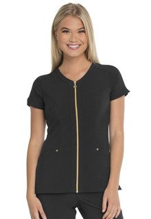 """Amorous"" Zip Front V-Neck Top-"