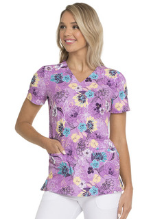 DEAL - HeartSoul Print  Scrub Top - Let's Garden Party-Heartsoul