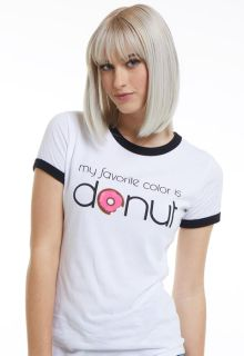 "DEAL - Women's Short Sleeve Ringer Message Tee ""My Favorite Color Is Donut""-Nurseonality"