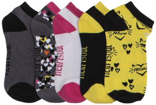 SUNSHINEDAY 1-5pr Pk of No Show Socks-HeartSoul