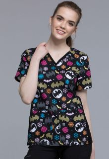 Tooniforms Winter V-Neck Knit Panel Scrub Top-