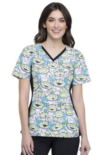 Women's V-Neck Knit Panel Print Scrub Top-Tooniforms