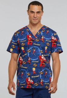 Tooniforms Disney Mens V-Neck Scrub Top-Tooniforms