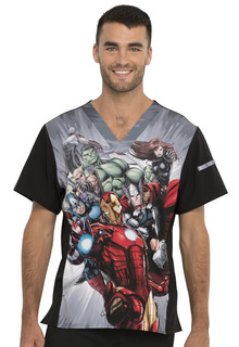 TF708 - Men's Disney + Print Scrub Top by Tooniforms-Tooniforms