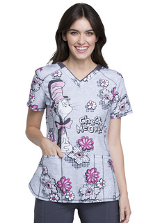 Check Meowt Dr. Seuss Print V Neck Scrub Top-Tooniforms