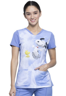 Kiss The Sky - Peanuts Print V Neck Scrub Top-Tooniforms