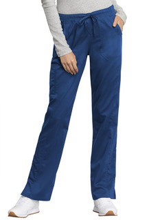 Tech Mid Rise Straight Leg Drawstring Pant - Antimicrobial w/Fluid Barrier-Cherokee Workwear