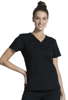 V-Neck Knit Panel Top-Cherokee Workwear
