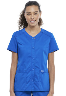 WW622 Snap Front V-Neck Top-Cherokee Workwear
