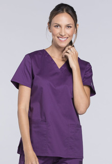 Core Classic Fit 3 Pocket Ladies V-Neck Scrub Top - Workwear WW630-Cherokee workwear