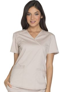 Core Stretch 3 Pocket Mock Wrap Scrub Top - Workwear WW640-Cherokee Workwear