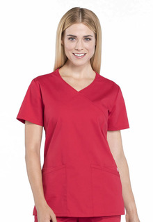 Cherokee Workwear Professionals Mock Wrap Scrub Top-Cherokee Workwear