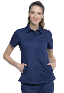 Hidden Snap Front Collar Shirt-Cherokee Workwear