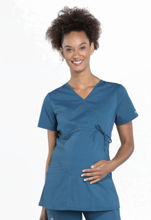 Cherokee Workwear Professionals Maternity Mock Wrap Scrub Top-Cherokee Workwear