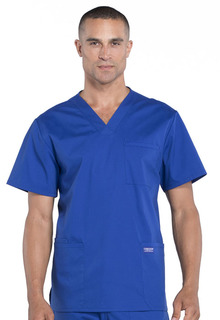 Cherokee Workwear Professionals Mens V-Neck Scrub Top-Cherokee Workwear
