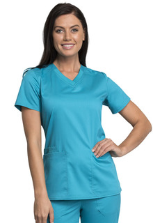Tech Knit Panel V-Neck Top - Antimicrobial w/Fluid Barrier-Cherokee Workwear