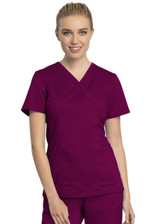 Tech Mock Wrap Top - Antimicrobial w/Fluid Barrier-Cherokee Workwear