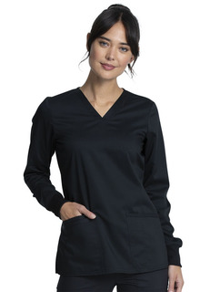 WW855AB Long Sleeve V-Neck Top-Cherokee Workwear