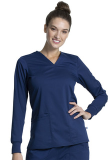 WorkWear NEW Long Sleeve V-Neck Top Antimicrobial w/Fluid Barrier-Cherokee Workwear
