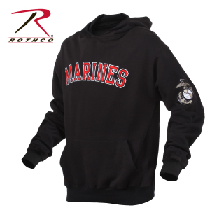 2044 Rothco Marines Pullover Hoodie-Black-Rothco