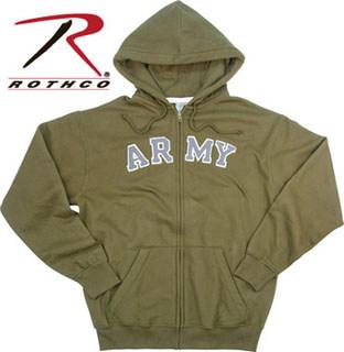 2094 Rothco Vintage Army Zipper Hoodie Sweatshirt - Olive Drab