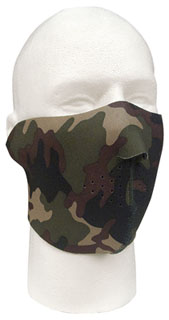 Reversible Stretch Fabric Half Mask Blk /Camo