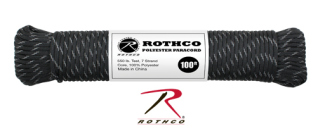 Rothco Polyester Paracord - Black w/Reflective Tracers-Rothco