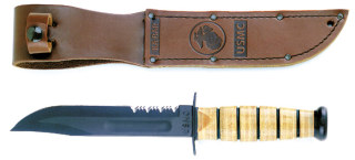 Genuine Ka-Bar USMC Combo Edge Fighting Knife-