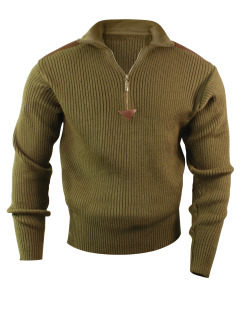 3371 Rothco Acrylic Commando Sweater 1/4 Zip - Olive Drab